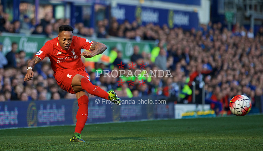 LIVERPOOL, ENGLAND - Sunday, October 4, 2015: Liverpool's Nathaniel Clyne in action against Everton during the Premier League match at Goodison Park, the 225th Merseyside Derby. (Pic by Lexie Lin/Propaganda)