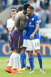 Romelu Lukaku of Everton hugs Riyad Mahrez of Leicester City after the game ends 2-2 - Photo mandatory by-line: Rogan Thomson/JMP - Mobile: 07966 386802 16/08/2014 - SPORT - FOOTBALL - Leicester - King Power Stadium - Leicester City v Everton - Barclays Premier League