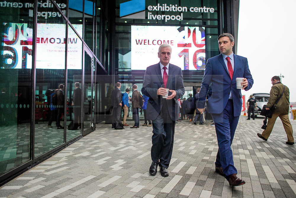 © Licensed to London News Pictures. 26/09/2016. Liverpool, UK. Shadow Chancellor JOHN MCDONNELL seen leaving the conference venue on the  morning of day two of the Labour Party Annual Conference, held at the ACC in Liverpool, merseyside, UK. Photo credit: Ben Cawthra/LNP