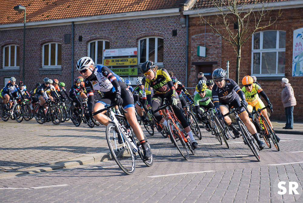 The race gets underway as the riders head out of town for the first time - 2016 Omloop van het Hageland - Tielt-Winge, a 129km road race starting and finishing in Tielt-Winge, on February 28, 2016 in Vlaams-Brabant, Belgium.