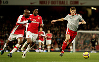 FA Premier League Arsenal v Liverpool 21/12/2008 Photo Patrick McCann/Fotosports International Liverpool's Steven Gerrard challenges for the ball with William Gallas, Emirates Stadium.