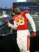 Jan 28, 2018; Orlando, FL, USA;  AFC outside linebacker Von Miller of the Denver Broncos (58) shows the car he won after he is awarded defensive player of the game in the 2018 NFL Pro Bowl at Camping World Stadium. The AFC defeated the NFC 24-23. (Steve Jacobson/Image of Sport)