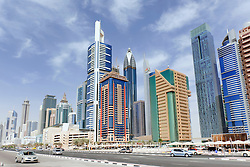 Modern high rise office towers on Sheikh Zayed road in financial district of Dubai United Arab Emirates UAE