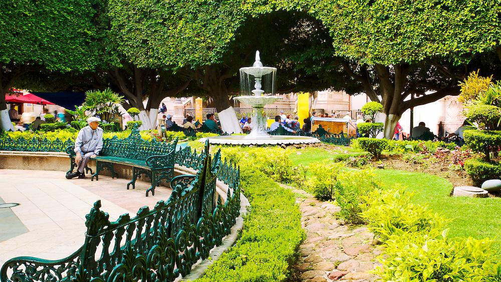 The garden plaza, Jardín de la Unión in Guanajuato, México