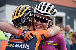 Anna van der Breggen celebrates the win with Amy Pieters at Boels Rental Ladies Tour Stage 5 a 141.8 km road race from Stamproy to Vaals, Netherlands on September 2, 2017. (Photo by Sean Robinson/Velofocus)