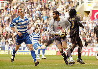 Photo: Leigh Quinnell.<br /> Reading v Portsmouth. The Barclays Premiership. 17/03/2007. Portsmouth goalkeeper David James saves a shot from Readings Steve Sidwell.