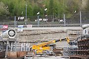 Il cantiere della ferrovia Torino-Lione (Tav) in Val di Susa. Chiomonte, 17 aprile 2015. Guido Montani / OneShot<br /> <br /> The construction site of the Turin Lyon high-speed railway in the Susa valley. Chiomonte, 17 april 2015. Guido Montani / OneShot