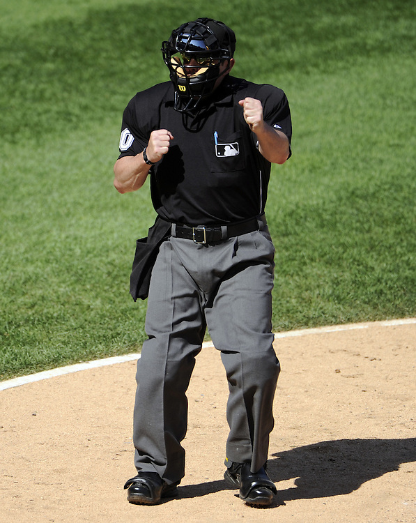 CHICAGO, IL - JUNE 26:  Home plate umpire Marty Foster #60 makes a strike out call during the game between the Washington Nationals and Chicago White Sox on June 26, 2011 at U.S. Cellular Field in Chicago, Illinois.  The Nationals defeated the White Sox 2-1.  (Photo by Ron Vesely/MLB Photos via Getty Images)  *** Local Caption ***Marty Foster