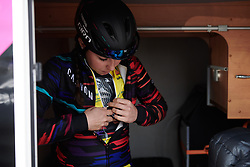 Lisa Klein (GER) prepares to defend the yellow jersey at Healthy Ageing Tour 2019 - Stage 5, a 124.3 km road race in Midwolda, Netherlands on April 14, 2019. Photo by Sean Robinson/velofocus.com