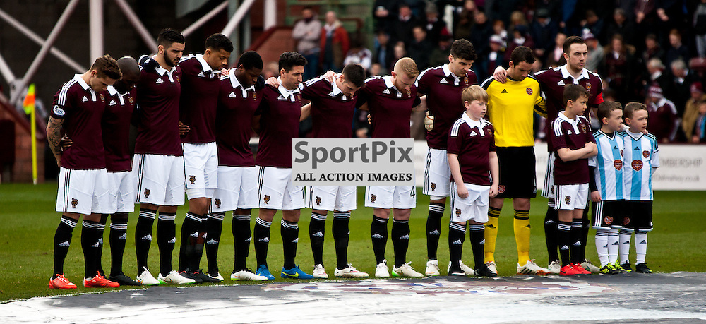Heart of Midlothian v Dumbarton; Scottish Championship; 14 March 2015; • Hearts players during the minutes silence for club legend Dave Mackay before the Heart of Midlothian v Dumbarton Scottish Championship match played at Tynecastle stadium; © Chris Johnston | SportPix.org.uk