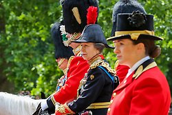 © Licensed to London News Pictures. 08/06/2019. London, UK. Prince Charles, Prince William, Prince Andrew and Princess Anne makes their way to Horse Guards Parade for the Trooping the Colour ceremony, which marks the 93rd birthday of Queen Elizabeth II, Britain's longest reigning monarch. Photo credit: Dinendra Haria/LNP
