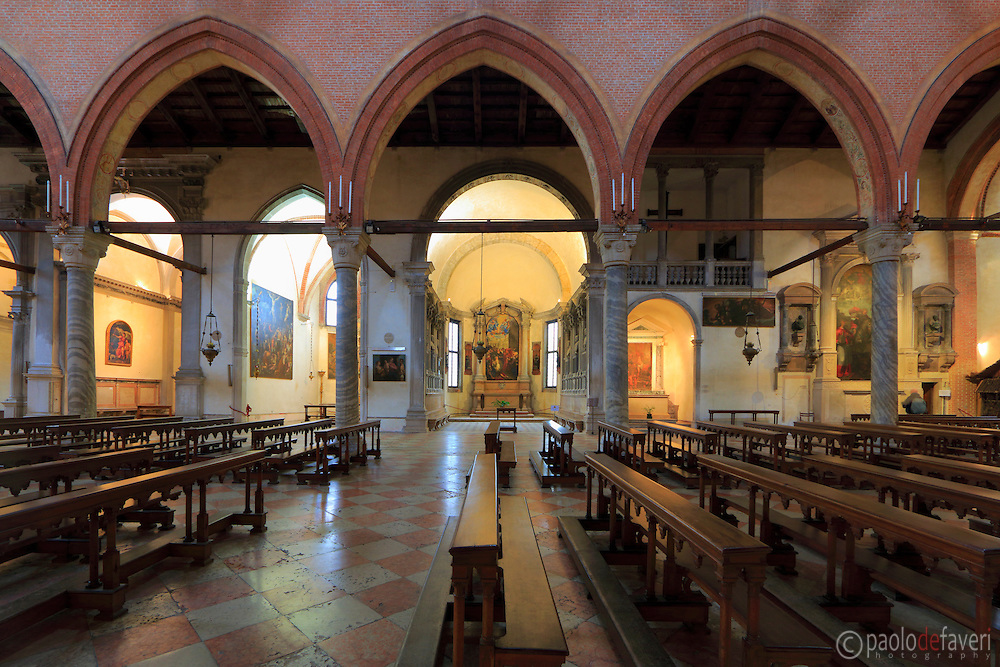 A view inside Madonna dell'Orto, a church in the Sestiere of Cannaregio in Venice, Italy. This church is particularly famous for its Last Judgement and other wonderful paintings by Tintoretto.