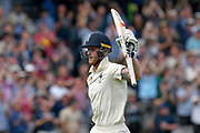 Century scoring Ben Stokes of England runs off the field with his bat held high as the declaration comes with Australia needing 267 runs to win during the International Test Match 2019 match between England and Australia at Lord's Cricket Ground, St John's Wood, United Kingdom on 18 August 2019.