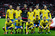 17.11.2015. Copenhagen, Denmark.<br /> UEFA EURO 2016 play-off Final Tournament, Second leg, Denmark 2 vs. Sweden 2.<br /> The Sweden national football team before the match against Sweden at the Telia Parken Stadium in Copenhagen.<br /> Photo: © Ricardo Ramirez