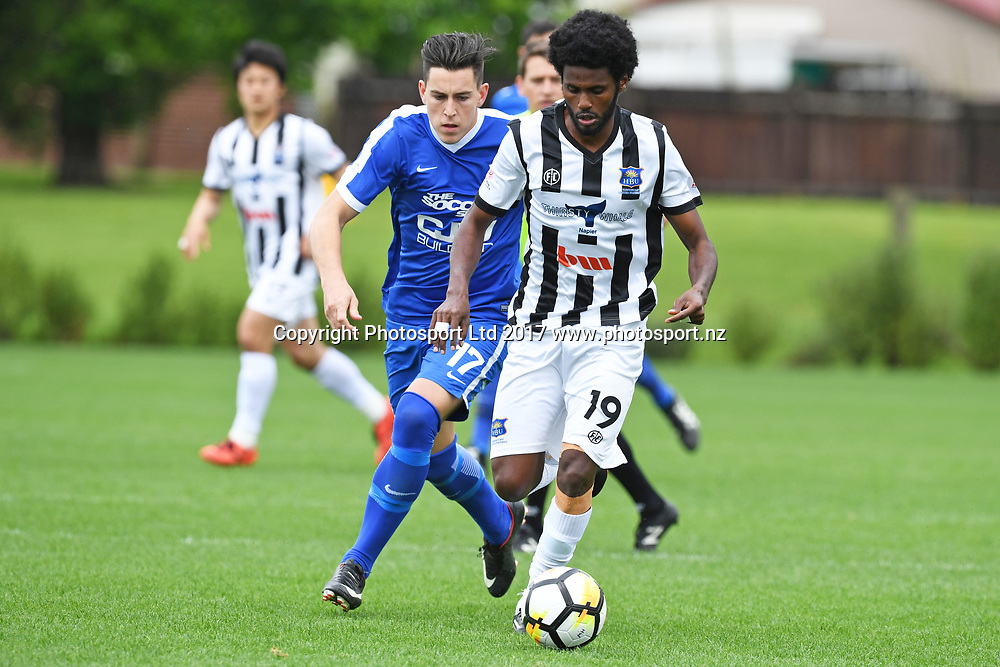 Hawkes Bay's Birhanu Taye and Wanderers Xavier Pratt during the Hamilton Wanderers v Hawkes Bay United at Porritt Stadium, Hamilton, New Zealand on the 29th October 2017. Copyright photo: Jeremy Ward / www.photosport.nz