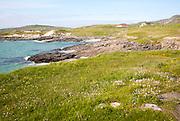 Atlantic coastline rocky headlands and small sandy bays near Borgh, Barra, Outer Hebrides, Scotland, UK
