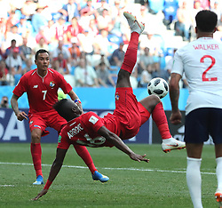 NIZHNY NOVGOROD, June 24, 2018  Abdiel Arroyo (C) of Panama attempts an overhead kick during the 2018 FIFA World Cup Group G match between England and Panama in Nizhny Novgorod, Russia, June 24, 2018. England won 6-1. (Credit Image: © Cao Can/Xinhua via ZUMA Wire)