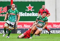 Marco Zanon of Benetton Treviso is tackled by Johnny McNicholl of Scarlets<br /> <br /> Photographer Craig Thomas/Replay Images<br /> <br /> Guinness PRO14 Round 3 - Scarlets v Benetton Treviso - Saturday 15th September 2018 - Parc Y Scarlets - Llanelli<br /> <br /> World Copyright © Replay Images . All rights reserved. info@replayimages.co.uk - http://replayimages.co.uk