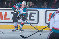 KELOWNA, CANADA - MARCH 24: Dillon Dube #19 of the Kelowna Rockets passes the puck against the Kamloops Blazers on March 24, 2017 at Prospera Place in Kelowna, British Columbia, Canada.  (Photo by Marissa Baecker/Shoot the Breeze)  *** Local Caption ***