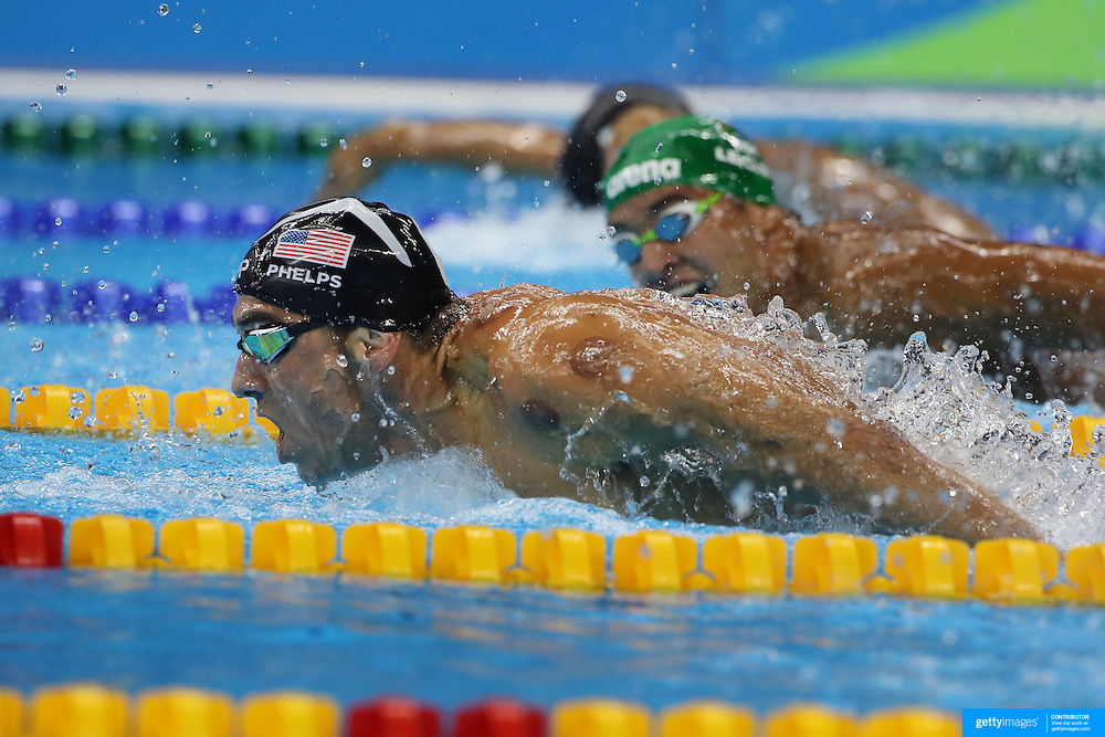 Swimming - Olympics: Day 4  Michael Phelps of the United States winning the Men's 200m Butterfly Final during the swimming competition at the Olympic Aquatics Stadium August 9, 2016 in Rio de Janeiro, Brazil. (Photo by Tim Clayton/Corbis via Getty Images)