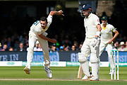 Josh Hazlewood of Australia bowling with Jonny Bairstow of England watching on during the International Test Match 2019 match between England and Australia at Lord's Cricket Ground, St John's Wood, United Kingdom on 18 August 2019.