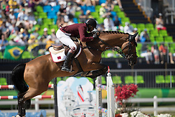 Mohammed Bassem Hassan, QAT, Primeval Dejavu<br /> owner of the horse of Jerome with arms in the air<br /> Olympic Games Rio 2016<br /> © Hippo Foto - Dirk Caremans<br /> 14/08/16