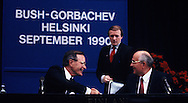 Bush 41 and Mikhail Sergeyevich Gorbachev shake hands at a press conference as HW Bush and Mikhail Sergeyevich Gorbachev meet  at the Helsinki summit on September 10, 1990<br /> Photo by Dennis Br