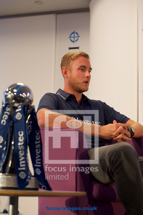 England cricketer Stuart Broad during the Investec Ashes Press Conference at Investec Bank, City of London<br /> Picture by Alan Stanford/Focus Images Ltd +44 7915 056117<br /> 02/07/2015