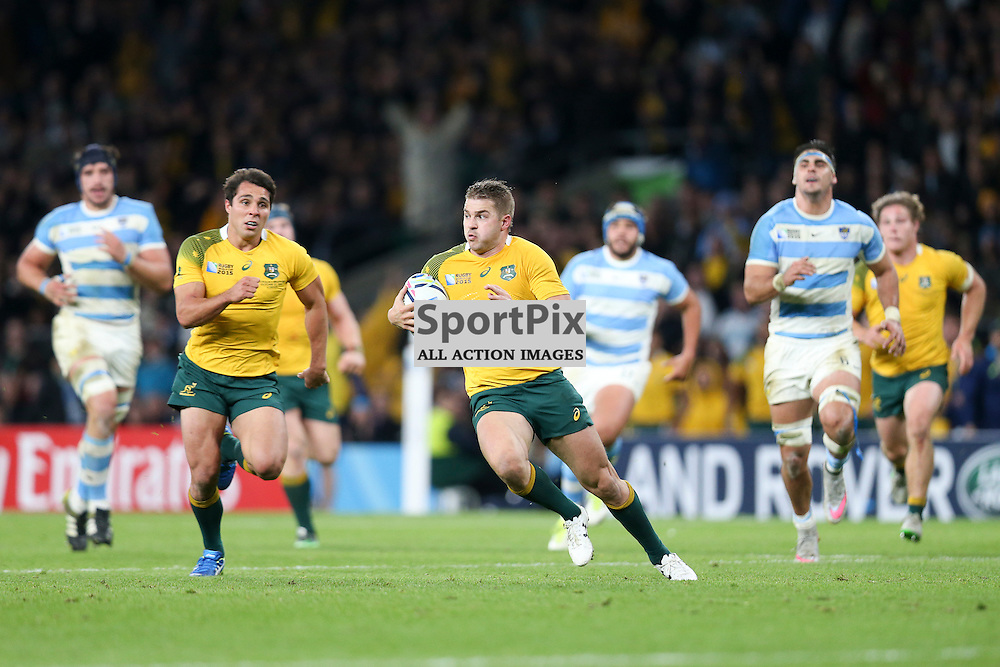 TWICKENHAM, ENGLAND - OCTOBER 25:  Drew Mitchell of Australia in action during the 2015 Rugby World Cup semi-final two match between Argentina and Australia at Twickenham Stadium, London on October 25, 2015 in London, England. (Credit: SAM TODD | SportPix.org.uk)