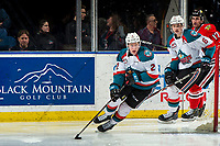 KELOWNA, CANADA - MARCH 2:  Lassi Thomson #2 of the Kelowna Rockets skates from behind the net with the puck against the Portland Winterhawks on March 2, 2019 at Prospera Place in Kelowna, British Columbia, Canada.  (Photo by Marissa Baecker/Shoot the Breeze)