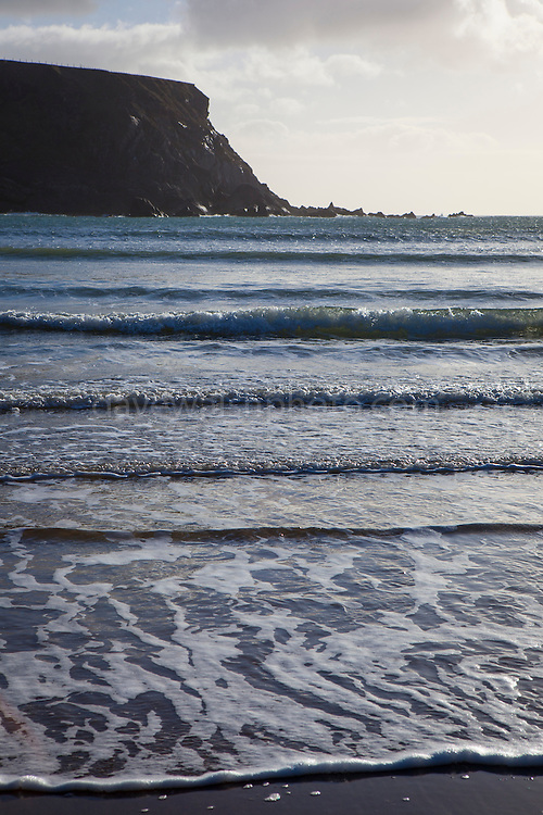 Atlantic waves breaking on the beach at Silver Strand, Or Trabane Beach, near Malin Beg, Donegal, on Ireland's Wild Atlantic Way.