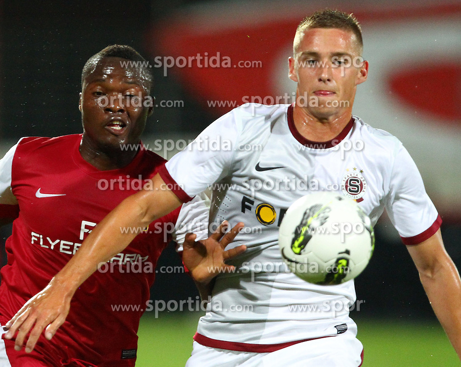 02.08.2012, Trenkwalder Arena, Maria Enzersdorf, AUT, UEFA EL, Hinspiel, FC Admira Wacker Moedling (AUT) vs AC Sparta Praha (CZE), im Bild Issiaka Ouedraogo, (FC Admira Wacker Moedling, #9) und Pavel Kaderabek, (AC Sparta Praha, #16) // during UEFA Europa League 1st Leg Match between FC Admira Wacker Moedling (AUT) vs AC Sparta Praha (CZE) at the Trenkwalder Arena, Maria Enzersdorf, Austria on 2012/08/02. EXPA Pictures © 2012, PhotoCredit: EXPA/ Thomas Haumer