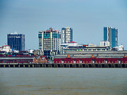 20 NOVEMBER 2017 - YANGON, MYANMAR: The Yangon skyline from the Dala side of the Yangon River. Tens of thousands of commuters ride the ferry every day. It brings workers into Yangon from Dala, a working class community across the river from Yangon. A bridge is being built across the river, downstream from the ferry to make it easier for commuters to get into the city.     PHOTO BY JACK KURTZ