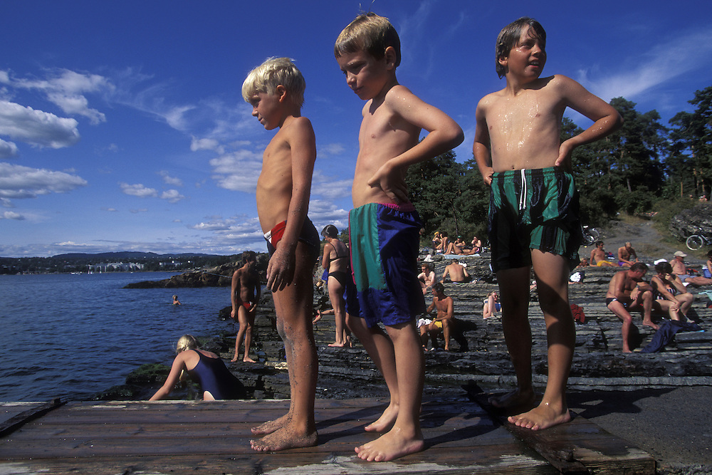 Europe, Norway. Beach crowded with sunbathers on Bygdøy Peninsula near Oslo, Norway.