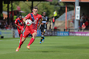 York City forward Reece Thompson controls a long ball  during the Sky Bet League 2 match between York City and Mansfield Town at Bootham Crescent, York, England on 29 August 2015. Photo by Simon Davies.