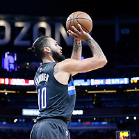 25 February 2017: Orlando Magic guard Evan Fournier (10) takes a jump shot during the Orlando Magic 105-86 victory over the Atlanta Hawks, at the Amway Center, Orlando, Florida, USA.