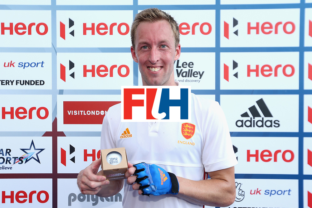 LONDON, ENGLAND - JUNE 17: Barry Middleton of England is presented with an award for becoming the most capped England player during the Hero Hockey World League Semi Final match between England and Malaysia at Lee Valley Hockey and Tennis Centre on June 17, 2017 in London, England.  (Photo by Alex Morton/Getty Images)