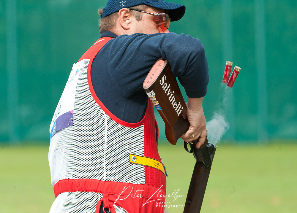London, England, 21-04-12. Evgeniy SERBIN (RUS) competes in the ISSF World Cup Skeet competition, Royal Artillery Barracks, London. Part of the London Prepares Olympic preparations.