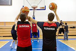 Samo Udrih of Slovenia and Goran Dragic of Slovenia during practice session of Slovenia National basketball team at Eurobasket Lithuania 2011, on September 7, 2011, in Mykolo Romeris University,  Vilnius, Lithuania. (Photo by Vid Ponikvar / Sportida)