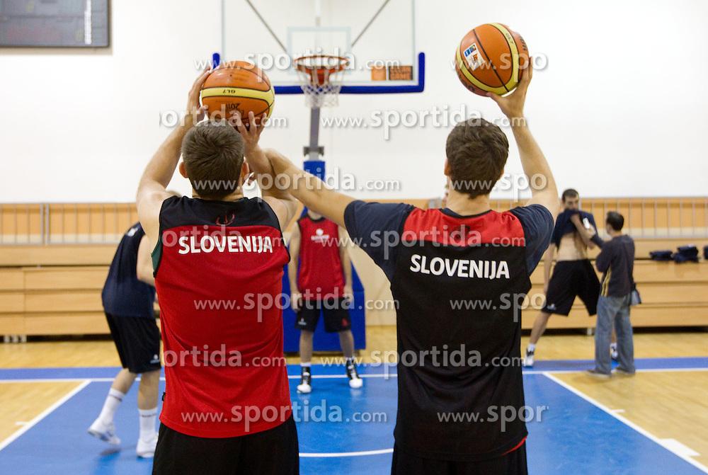 Samo Udrih of Slovenia and Goran Dragic of Slovenia during practice session of Slovenia National basketball team at Eurobasket Lithuania 2011, on September 7, 2011, in Mykolo Romeris University,  Vilnius, Lithuania. (Photo by Vid Ponikvar / Sportida)
