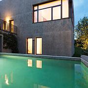 Cube villa in the evening