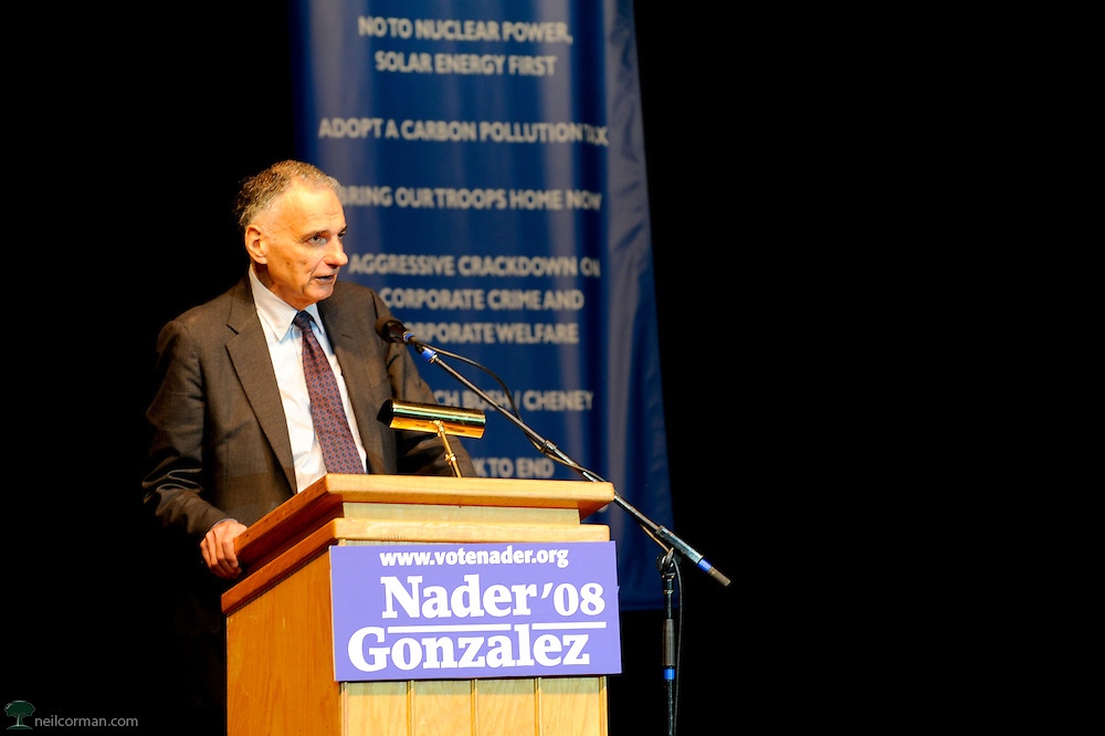 August 27, 2008 - Presidential candidate Ralph Nader speaks about opening the debates to all candidates at a Super Rally in Denver, Colorado during the DNC.