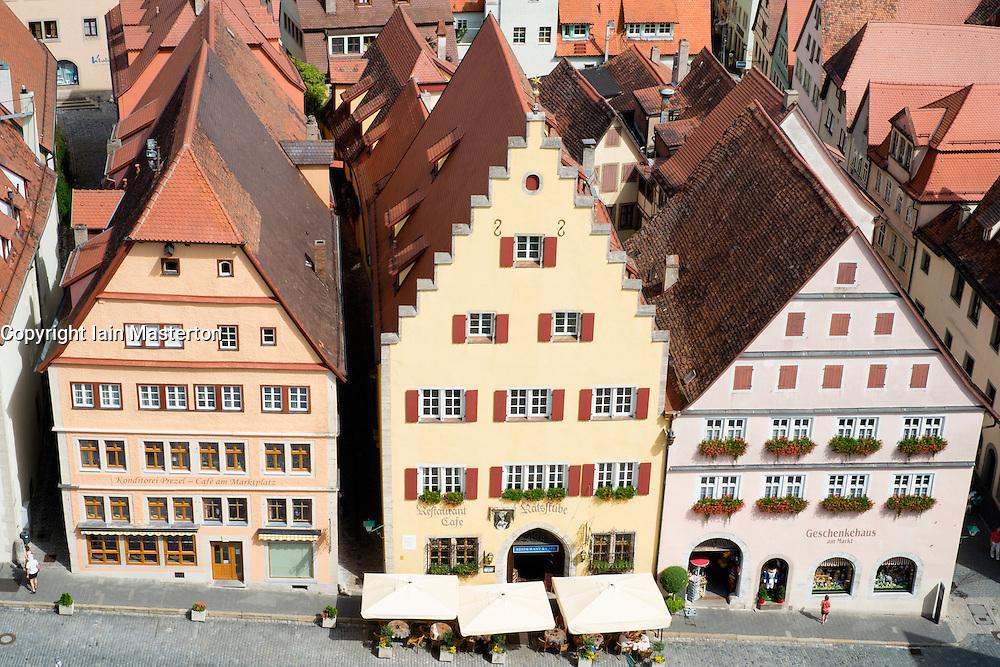 View of Rothenburg ob der Tauber medieval town in Bavaria Germany