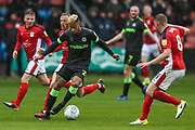 Forest Green Rovers Junior Mondal(25) on the ball during the EFL Sky Bet League 2 match between Crewe Alexandra and Forest Green Rovers at Alexandra Stadium, Crewe, England on 27 April 2019.