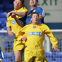 St Johnstone v Clyde..09.04.05<br />David Hannah in aerial battle with Graeme Jones and David Greenhills.<br /><br />Picture by Graeme Hart.<br />Copyright Perthshire Picture Agency<br />Tel: 01738 623350  Mobile: 07990 594431