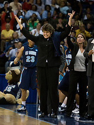 Old Dominion head coach Wendy Larry pumps up her team.  The #11 ranked / #5 seed Old Dominion Lady Monarchs defeated the #24 ranked / #4 seed Virginia Cavaliers 88-85 in overtime in the second round of the 2008 NCAA Women's Basketball Championship at the Ted Constant Convocation Center in Norfolk, VA on March 25, 2008.