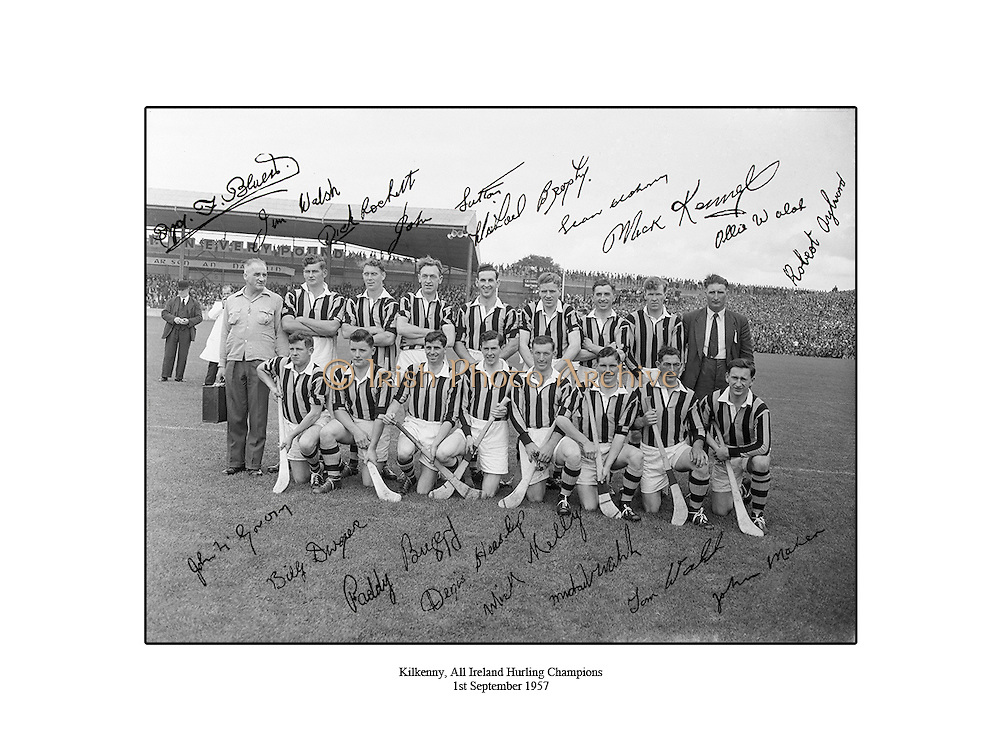 Kilkenny, All Ireland Hurling Champions, 1st September 1957