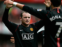 Photo: Tom Dulat/Sportsbeat Images.<br /> <br /> Arsenal v Manchester United. The FA Barclays Premiership. 03/11/2007.<br /> <br /> Manchester United's Wayne Rooney celebrates his opener of the game. Manchester leads 1-0
