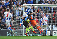 Football - 2018 / 2019 Emirates FA Cup - Semi-Final: Manchester City vs. Brighton & Hove Albion<br /> <br /> Shane Duffy of Brighton jumps highest only to have his header cleared off the line, at Wembley Stadium.<br /> <br /> COLORSPORT/ANDREW COWIE