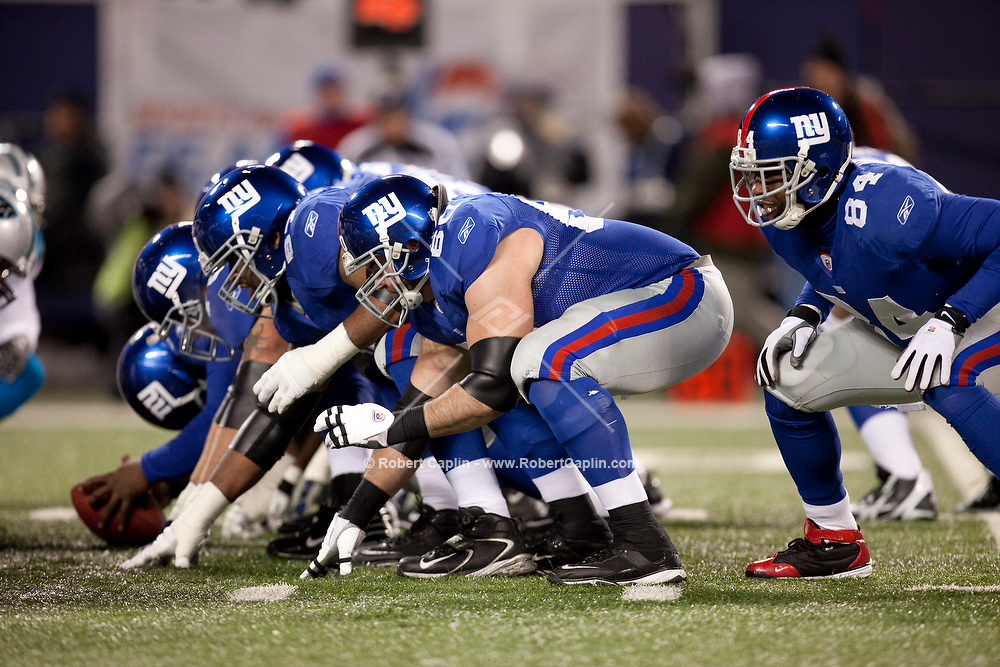Members of the New York Giants compete against the Carolina Panthers.